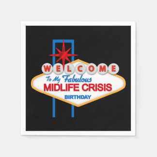 Midlife Crisis Birthday party paper napkins