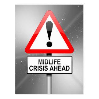 Midlife crisis warning. postcard