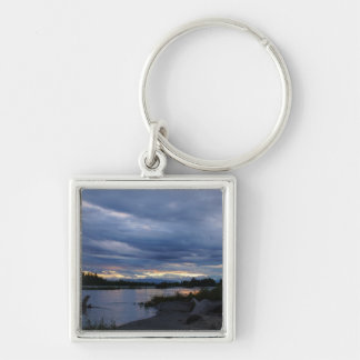 Midnight Alaska Sunset Silver-Colored Square Keychain