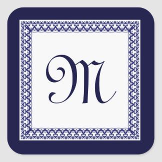 Midnight and White Ornate Monogram Square Sticker
