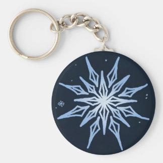 Midnight Big Snowflake Sketch Basic Round Button Keychain