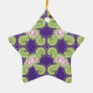 Midnight bloom ceramic ornament