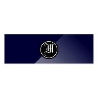 Midnight Blue Abstract Gothic Monogram Mini Business Card