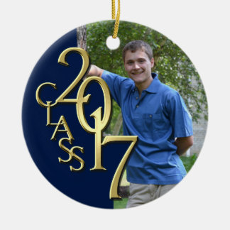 Midnight Blue and Gold Class 2017 Graduation Photo Ceramic Ornament