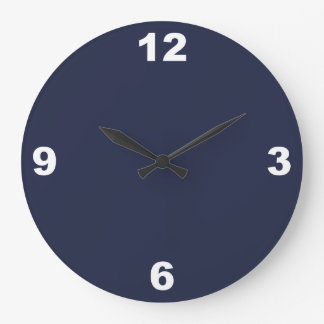 Midnight Blue and Large White Numbers Wall Clock