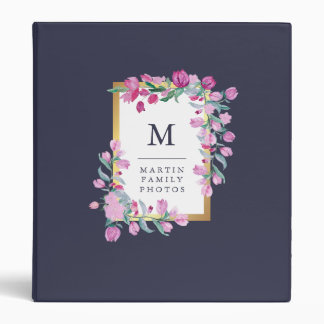 Midnight Blue and Pink Bougainvillea Flowers Binder
