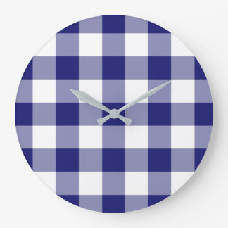 Midnight Blue And White Checked Gingham Pattern Large Clock