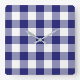 Midnight Blue And White Checked Gingham Pattern Square Wall Clock