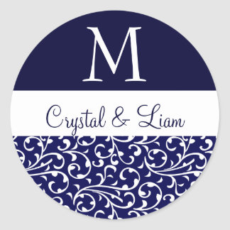 MIDNIGHT BLUE and WHITE Damask Wedding Monogram Classic Round Sticker
