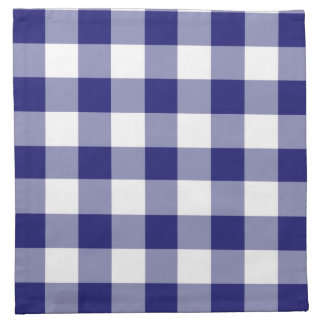 Midnight Blue And White Gingham Checks Pattern Napkin