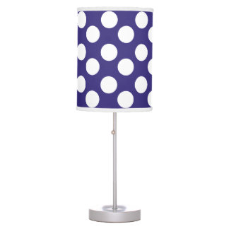 Midnight Blue and White Large Polka Dot Lamp