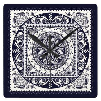 Midnight Blue and White Mandala Wall Clock