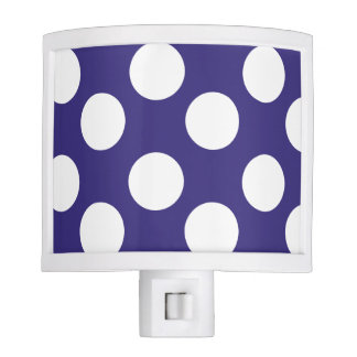 Midnight Blue and White Polka Dot Night Light