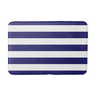 Midnight Blue and White Striped Bath Mat