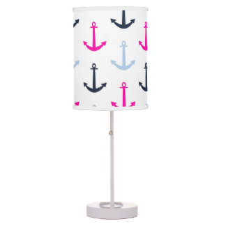 Midnight Blue, Baby Blue, Hot Pink Nautical Anchor Table Lamp