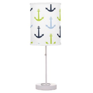 Midnight Blue, Baby Blue, Lime Green Anchors Table Lamp