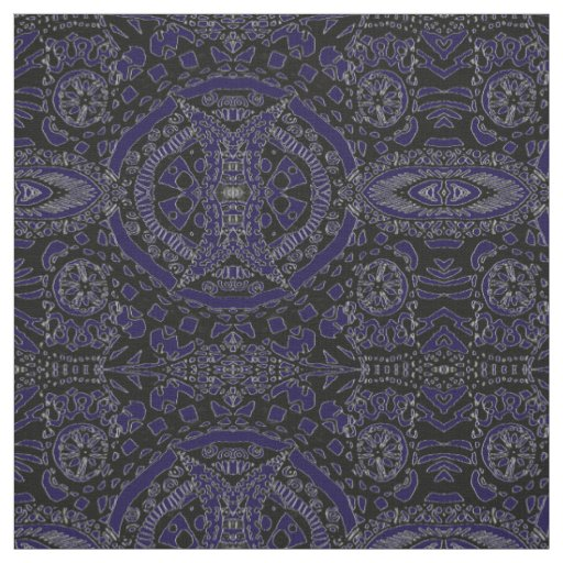 Midnight Blue, Black and White Pattern Fabric