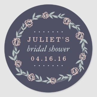 Midnight Blue, Blush and Sage Bridal Shower Favor Round Sticker