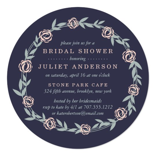 Midnight Blue, Blush Pink and Sage Bridal Shower Card