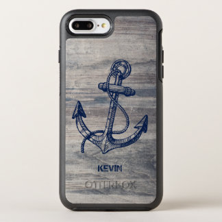 Midnight Blue Boat Anchor On Gray Wood Texture OtterBox Symmetry iPhone 8 Plus/7 Plus Case