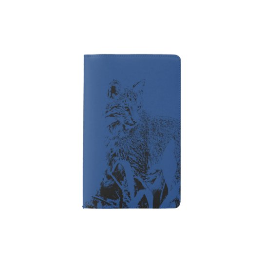 Midnight Blue Bobcat Portrait Notebook Cover