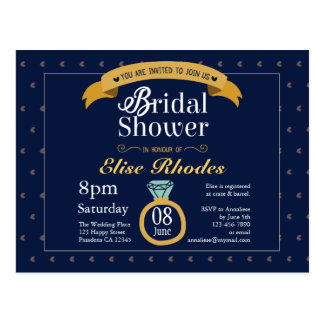 Midnight blue creamy bridal gown ring illustration postcard