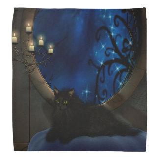 Midnight Blue Fantasy Cat Art Bandannas