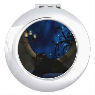 Midnight Blue Fantasy Cat Art Vanity Mirrors