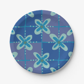 Midnight blue floral batik seamless pattern 7 inch paper plate