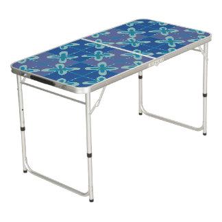 Midnight blue floral batik seamless pattern beer pong table