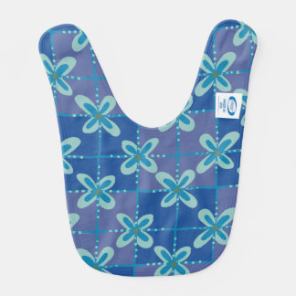 Midnight blue floral batik seamless pattern bib