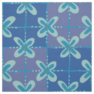 Midnight blue floral batik seamless pattern fabric