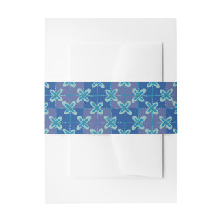 Midnight blue floral batik seamless pattern invitation belly band