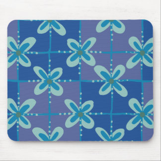 Midnight blue floral batik seamless pattern mouse pad