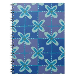 Midnight blue floral batik seamless pattern notebook