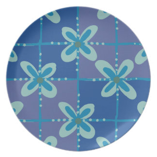 Midnight blue floral batik seamless pattern party plate