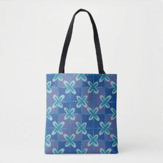 Midnight blue floral batik seamless pattern tote bag