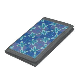 Midnight blue floral batik seamless pattern trifold wallet