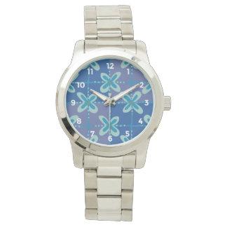 Midnight blue floral batik seamless pattern watch