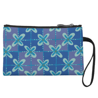 Midnight blue floral batik seamless pattern wristlet