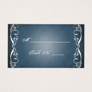 Midnight Blue Floral Posh Wedding Place Cards