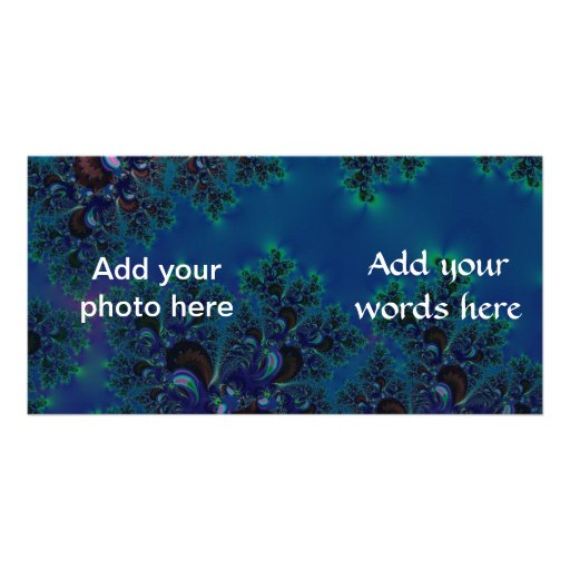 Midnight Blue Frost Crystals Fractal Photo Cards