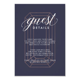Midnight Blue Geometric Diamond Guest Information Card
