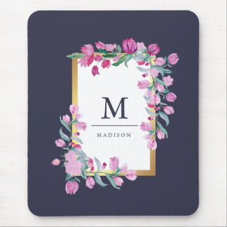 Midnight Blue, Gold and Pink Bougainvillea Flowers Mouse Pad