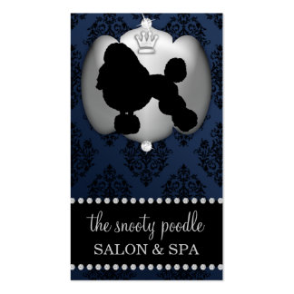 Midnight Blue Jeweled Damask Dog Grooming/Spa Business Card