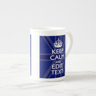 Midnight Blue Keep Calm Have Your Text Union Jack Tea Cup