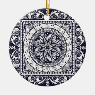 Midnight Blue Mandala Ornament