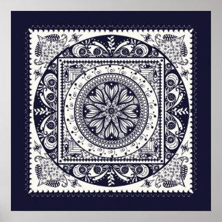 Midnight Blue Mandala Poster Print