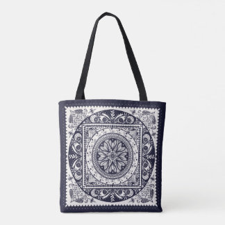 Midnight Blue Mandala Tote Bag