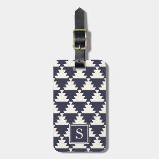 Midnight Blue Modern Aztec Geometric Monogram Luggage Tag